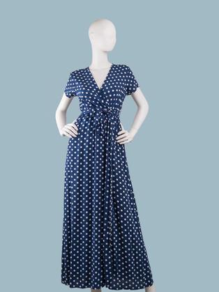 Темно- синее платье в белый горошек длинное с запахом