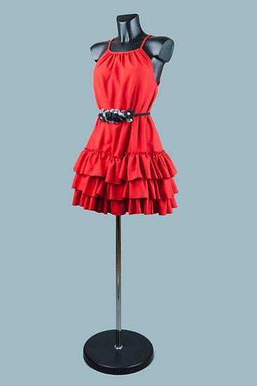 Короткое платье с открытыми плечами и оборками красное. Польша. Размер: 42-46