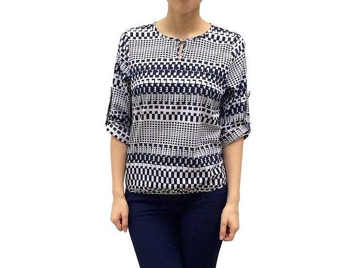Женская блуза белая с синим узором 101501