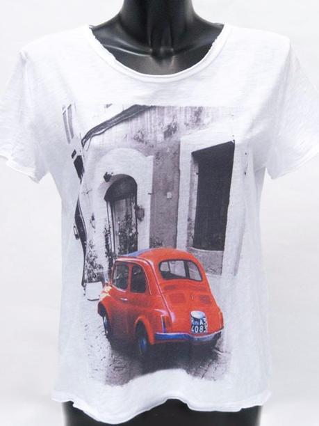 """Футболка c рисунком """"красный автомобиль"""" белая 14160110"""