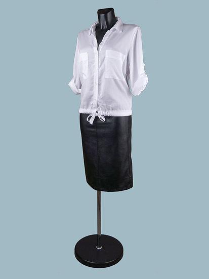 Летняя короткая блузка с рукавом и завязкой внизу белая