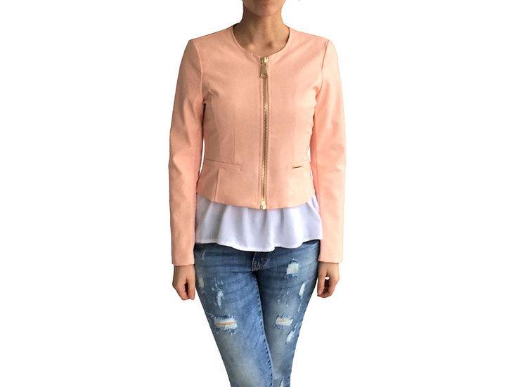 Куртка из экокожи  персиковая на молнии 102512