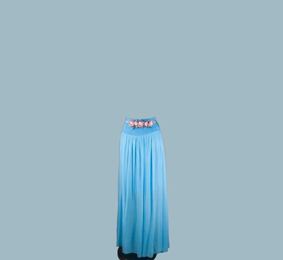 Юбка длинная в пол голубая