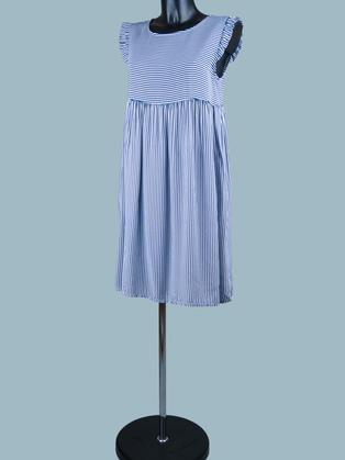 Платье в голубую мелкую полоску короткое