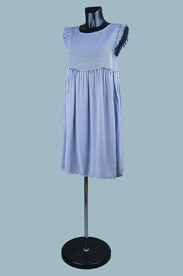 Летнее платье мини в голубую мелкую полоскув синюю полоску. Италия. Вискоза. Размер: 42-46
