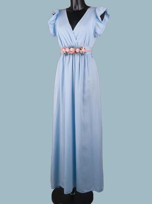 Длинное летнее  платье с запахом голубое