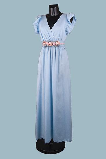 Летнее длинное нарядное платье с вырезом запах голубое. Размер: 42-50. Италия. 100% лиоцелл