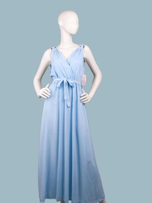 Платье длинное с запахом голубое в греческом стиле
