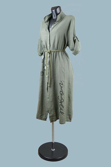 Платье- халат  летнее льняное хаки  22132410