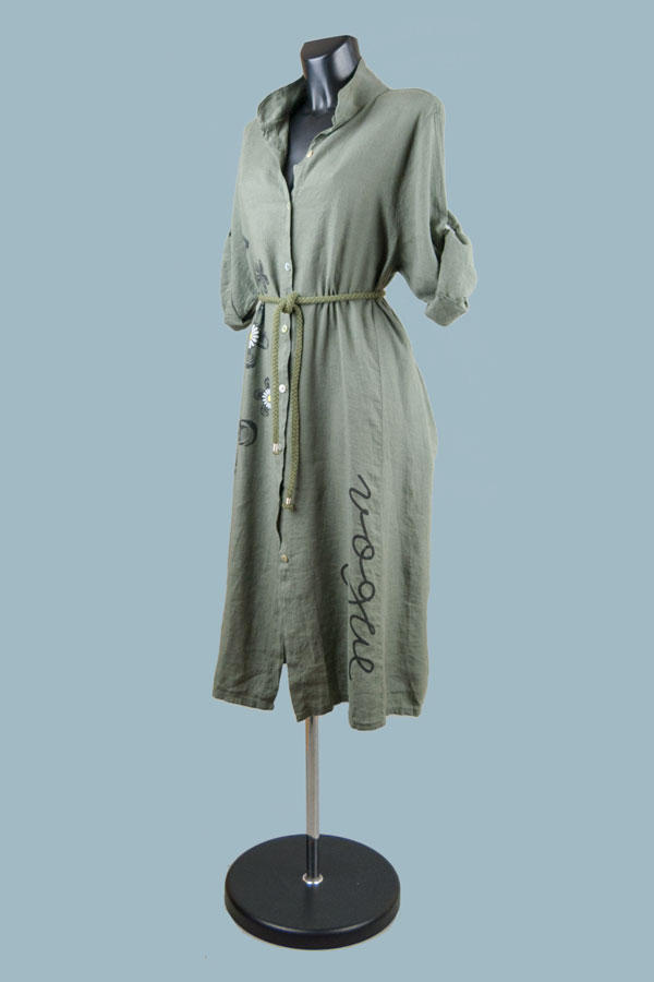 Платье- халат  летнее  хаки  22132410