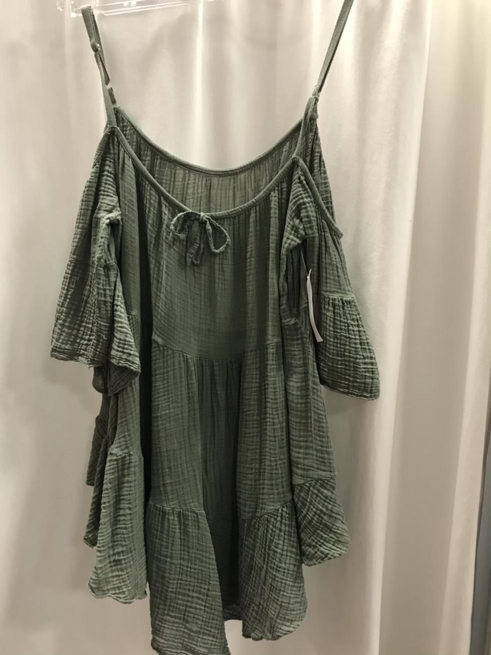 Блузка  с открытыми плечами хаки