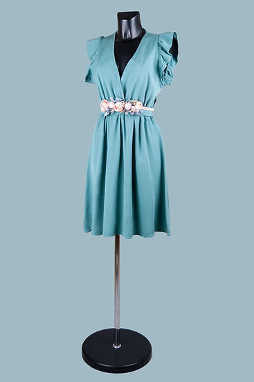 Летнее нарядное платье с вырезом-запах мятное. Размер: 42-50. Италия. 100% лиоцелл