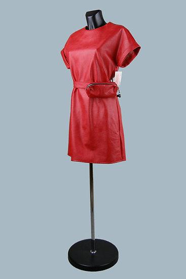 Кожаное красное платье- купить в магазине Chichi  Королев Гелиос