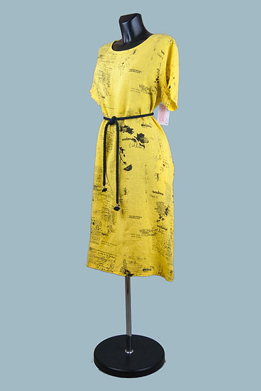 Летнее свободное желтоеплатье. Лен. Размер: 48-52