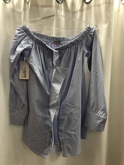 Блузка в голубую полоску 14330610