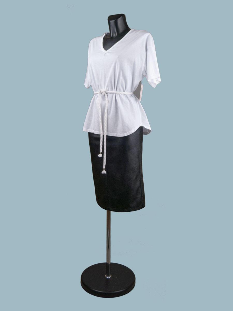 Белая футболка женская однотонная