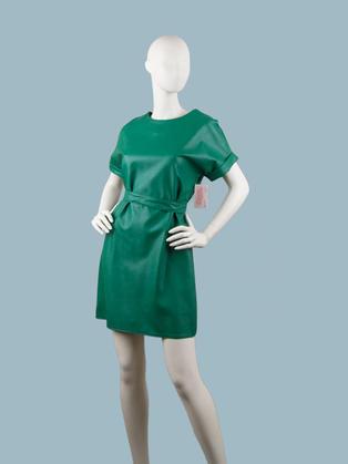 Платье  кожаное зеленое 25072210