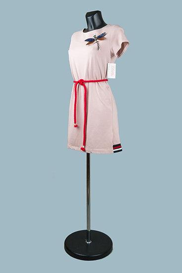Трикотажное платье мини розовое.Италия. Размер: 40-46