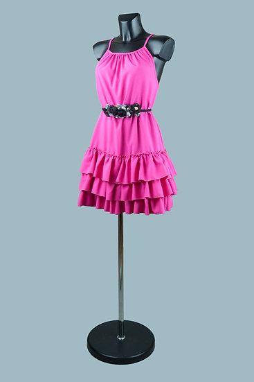 Короткое платье с открытыми плечами и оборками фуксия. Польша. Размер: 42-46