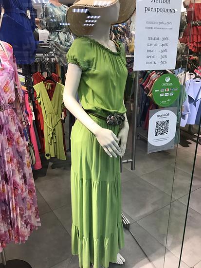 Платье длинное с воланами салатовое 23264110