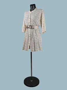 Платье- халат с цветочным принтом кремовое