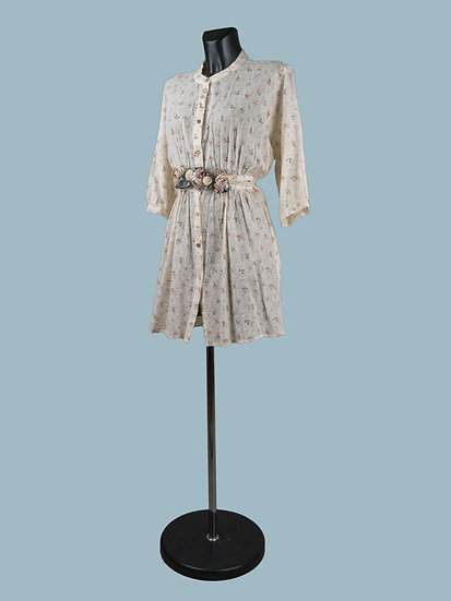 Платье- халат с цветочным принтом кремовое | chichi