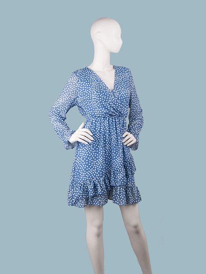 Шифоновое платье на подкладке с запахом синеев горох. Италия. Размер: 42-48