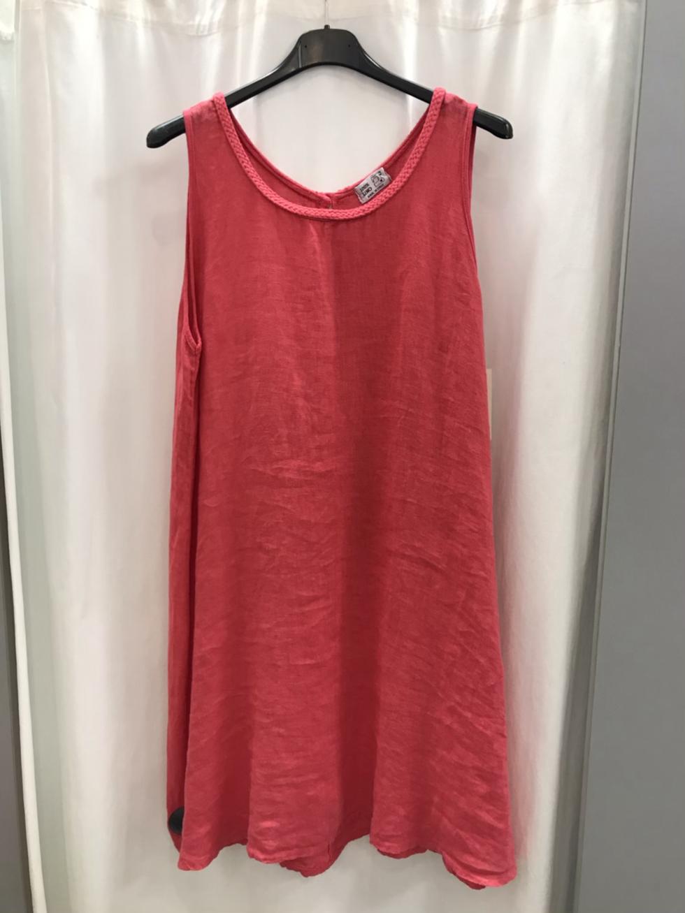 Льняное платье коралловое 25572810