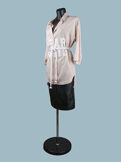 Блуза удлиненная розовая с асимметричным низом | chichi