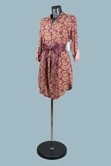 Платье с длинным рукавом бордовое с рисунком. Италия. Вискоза. Размер: 42-48