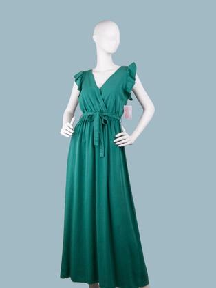 Длинное платье летнее с запахом зеленое