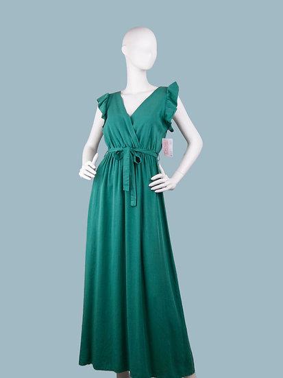 Летнее длинное нарядное платье с вырезом- запах зеленое. Размер: 42-50. Италия. 100% лиоцелл
