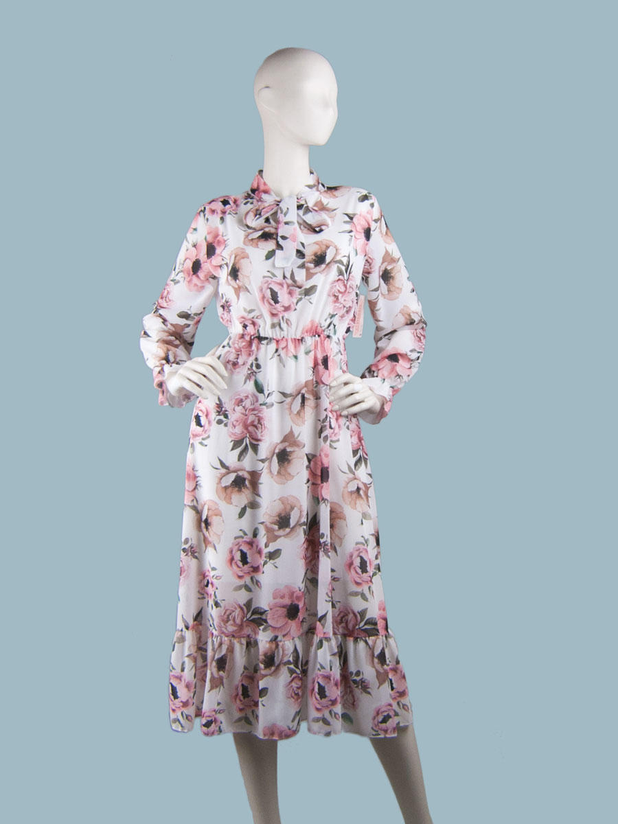Платье  шифоновое миди белое с цветами