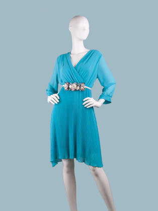 Платье  шифоновое миди с запахом голубое