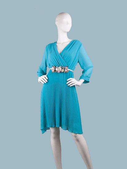 Шифоновое платье миди на подкладке с запахом голубоес гофрированной юбкой и поясом . Италия. Размер: 42-48
