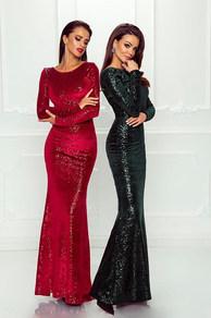 Вечернее платье в пол красное, черное 1755