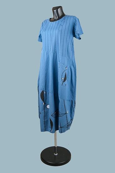 Летнее платье синее. Хлопок.Размер: 50-54