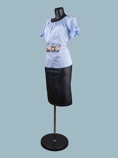 Летняя блузка с коротким рукавом фонариком голубая