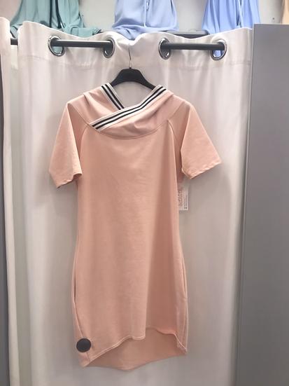 Платье трикотажное с капюшоном розовое 19881210