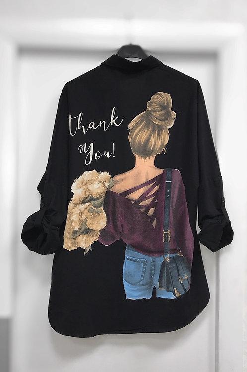 Блузка  черная с девочкой 264002