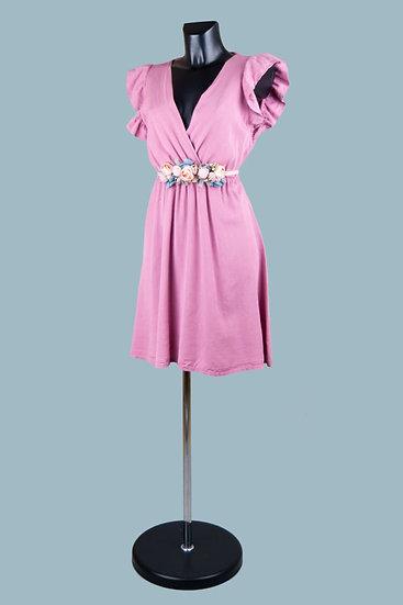 Летнее нарядное платье с вырезом-запах сиреневое. Размер: 42-50. Италия. 100% лиоцелл