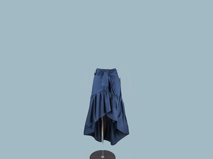 Юбка с запахом синяя 2365