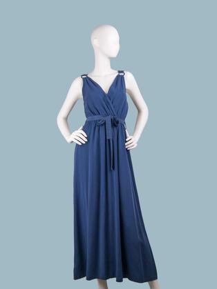 Длинное летнее платье темно-синее