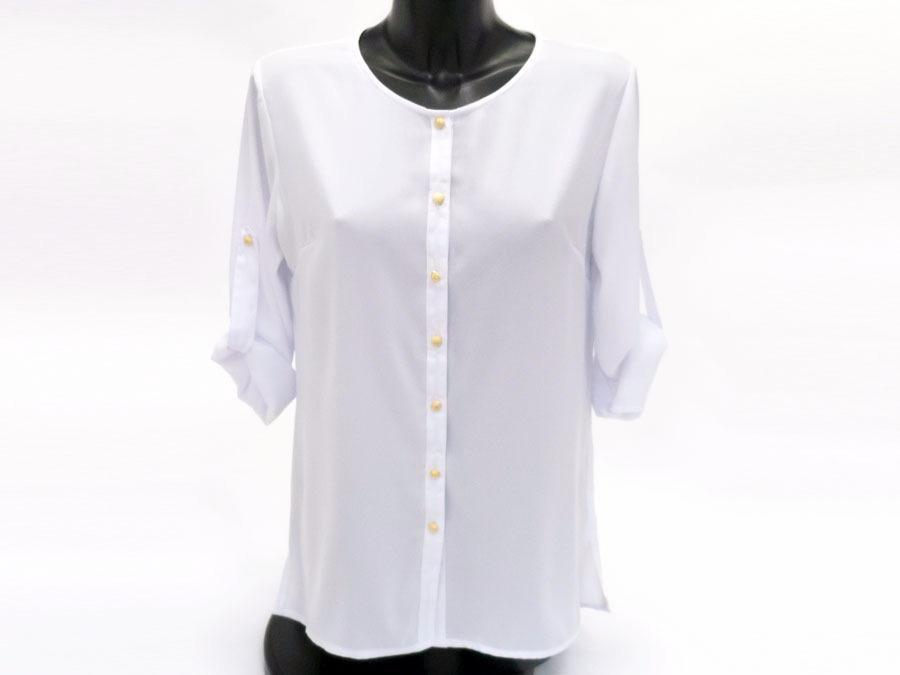 Блузка женская удлиненная белая 101802