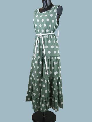 Платье летнее длинное в крупный  горох хаки