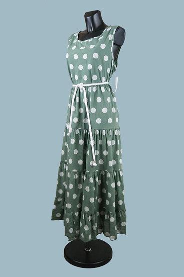 Свободное платья А- силуэт хаки. Крупный горох. Италия.Размер: 50-54. Хлопок