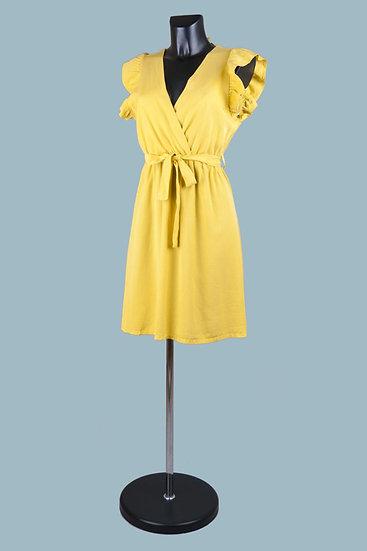 Летнее нарядное платье с вырезом-запах желтое. Размер: 42-50. Италия. 100% лиоцелл