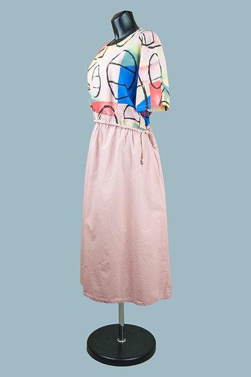 Летнее платье бохо с рисунком розовое. Хлопок.Польша.Размер: 50-54