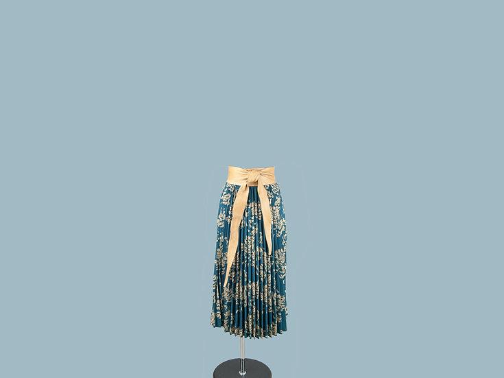 Юбка плиссированная  с рисунком синяя 23990010