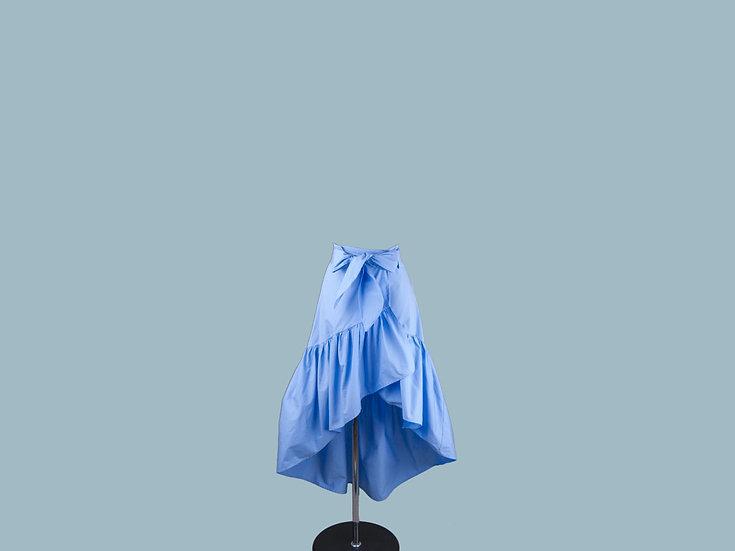 Юбка с запахом голубая 2363